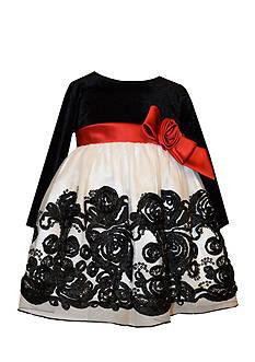 Bonnie Jean Velvet Bonaz Mesh Dress Toddler Girls