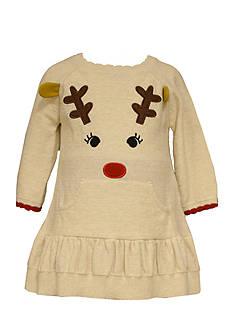 Bonnie Jean Reindeer Sweater Dress Toddler Girls