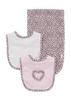 Little Me 3-Piece Leopard Bibs and Burp Cloth Set