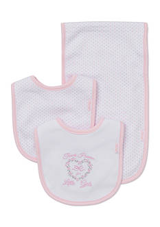 Little Me 3-Piece 'Thank Heaven for Little Girls' Bibs and Burp Cloth Set