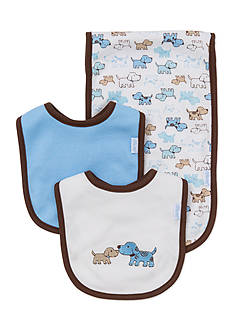 Little Me 3-Piece Cute Puppies Bibs and Burp Cloth Set