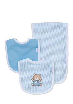 Little Me 3-Piece Chevron Bear Bib and Burp Cloth Set