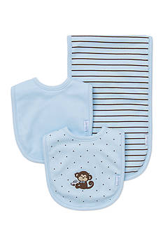 Little Me 3-Piece Monkey Bib and Burp Cloth Set