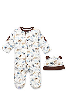 Little Me 2-Piece White Puppy Footie Set