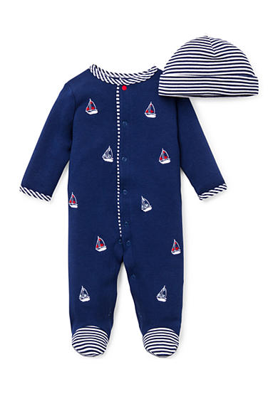 Little Me 2-Piece Sailboat Footie and Hat