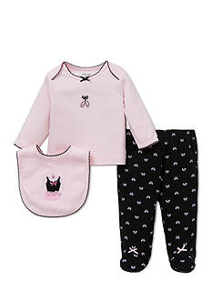 Little Me 3-Piece Ballet Bow Tunic, Bib, and Footed Pants Set