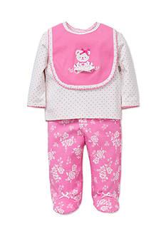 Little Me Pink Bear Lap Shoulder 3-Piece Set
