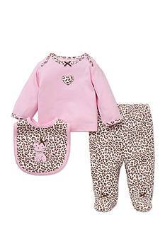 Little Me 3-Piece Leopard Tunic, Bib, and Footed Pants Set