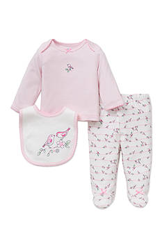 Little Me 3-Piece Bird Tunic, Bib, and Pants Set