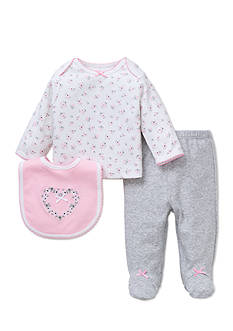 Little Me 3-Piece Rose Tunic, Bib And Footed Pants Set