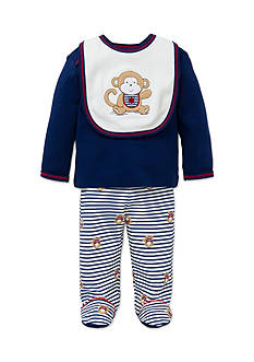 Little Me Navy Monkey Lap Shoulder 3-Piece Set