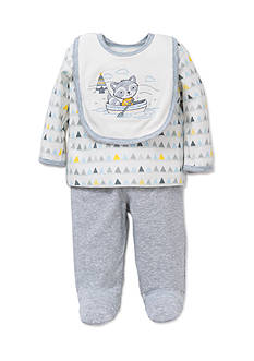 Little Me 3-Piece Raccoon Tunic, Bib, and Footed Pants Set