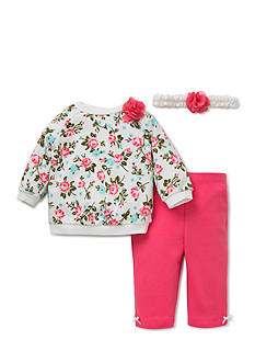Little Me 3-Piece Rose Sweatshirt, Headband, and Leggings Set