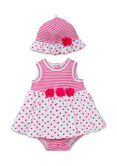 Little Me 2-Piece Hearts-and-Stripes Pullover Dress and Hat Set