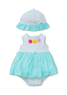 Little Me 2-Piece Stripe Pullover Dress and Hat Set