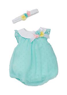 Little Me 2-Piece Texture Bubble Dress and Headband Set