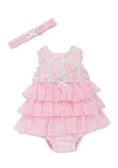 Little Me Pink Rosette Mesh Popover