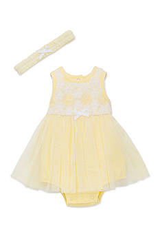 Little Me Yellow Daisy Mesh Popover Dress