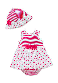 Little Me 2-Piece Polka Dot Stripe Popover and Hat