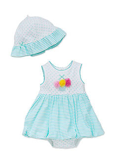 Little Me 2-Piece Stripe Popover and Hat Set