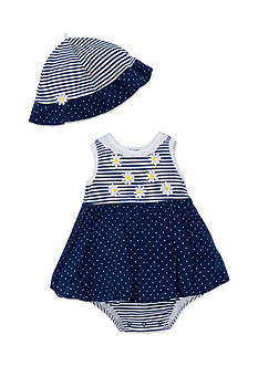Little Me 2-Piece Daisy Dot Popover and Hat Set