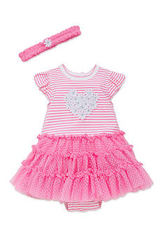 Little Me 2-Piece Daisy Heart Tutu Popover and Headband Set