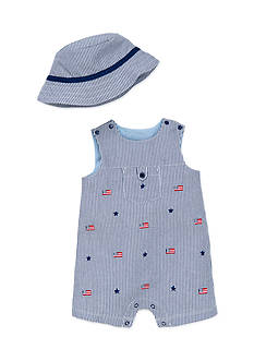 Little Me 2-Piece Flag Hat and Romper Set