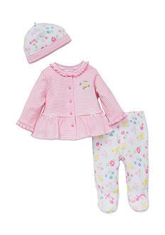 Little Me 3-Piece Flower Cardigan, Leggings, and Hat Set