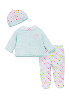 Little Me 3-Piece Sweetheart Cardigan, Leggings, and Hat Set