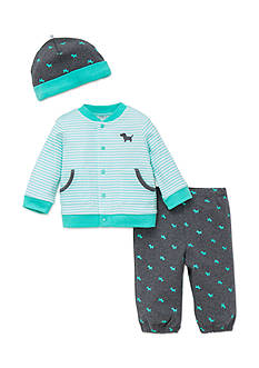 Little Me 3-Piece Puppy Cardigan, Hat, and Pants Set