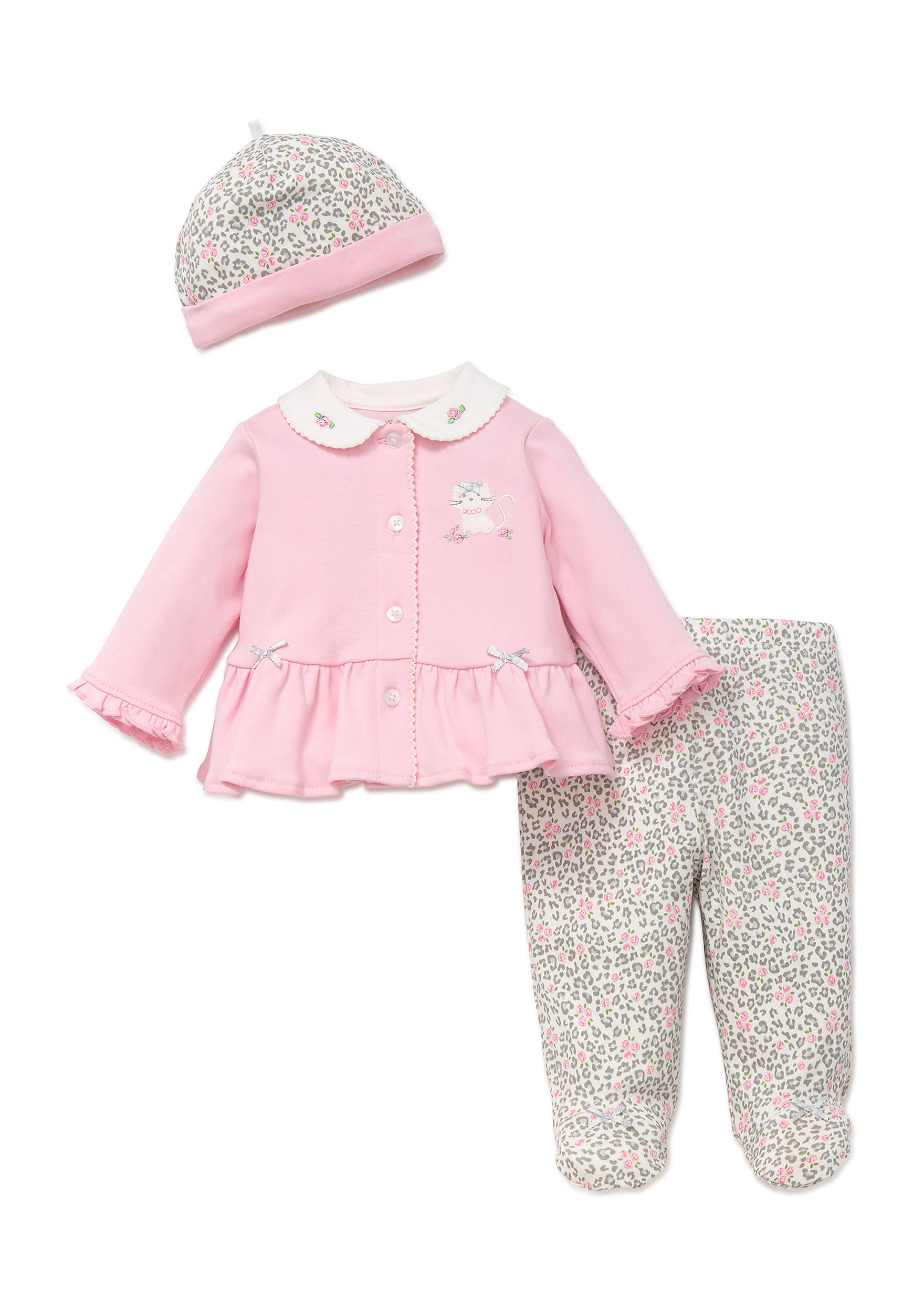 Little Me 3-Piece Leopard Cardigan Set | belk
