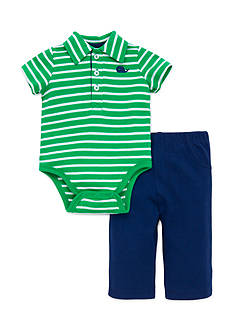 Little Me Whale Stripe Polo and Pant Set
