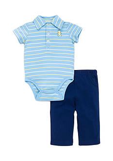 Little Me Bear Polo Pant Set