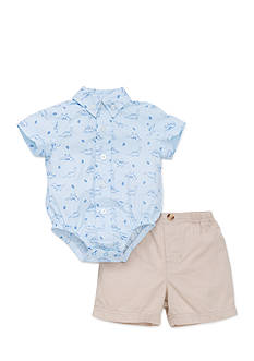 Little Me Dino Button Down Short Set
