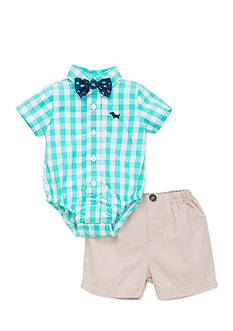 Little Me Gingham Puppy and Short Set