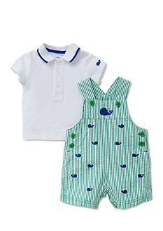Little Me 2-Piece Whale Polo and Shortall Set