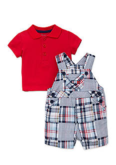 Little Me Plaid Shortall Set