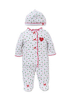 Little Me White Candy Cane Footie 2-Piece Set