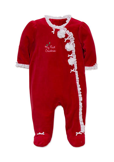 Little Me Christmas Red Rose Velour Footed Bodysuit