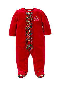 Little Me Red Holiday Plaid Velour Footie Bodysuit