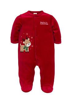 Little Me Red Reindeer Velour Footie Bodysuit