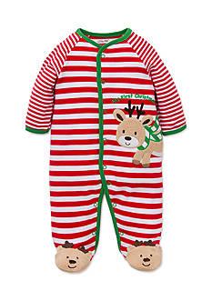 Little Me Red Reindeer Striped Footie