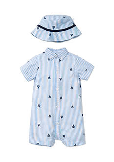 Little Me 2-Piece Boat Romper and Hat Set