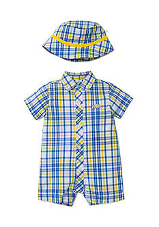 Little Me 2-Piece Plaid Romper and Hat Set