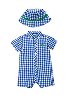 Little Me 2-Piece Check Romper and Hat Set