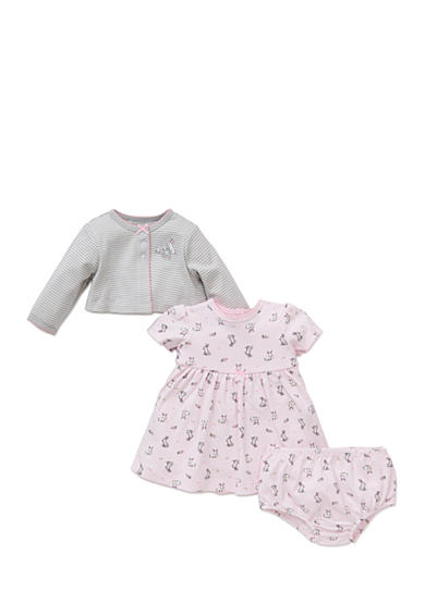 Little Me 3-Piece Bunny Cardigan, Dress, and Bloomers Set