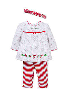 Little Me White Red Holly 3-Piece Pant Set
