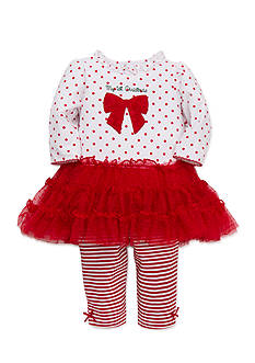 Little Me White Red Rose Dress 2-Piece Legging Set