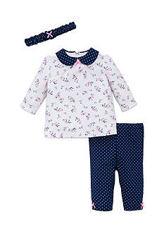 Little Me 3-Piece Floral & Polka Dot Top, Headband, and Pants Set