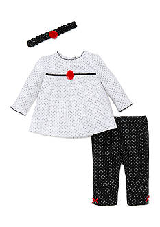 Little Me 3-Piece Polka Dot Top, Headband, and Pants Set